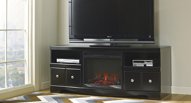 Shay Large TV Stand with LED Fireplace